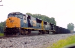CSX 4805 heads coal train in siding